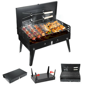 Charcoal BBQ Grill and Utensils Outdoor Garden Folding Portable Barbecue Camping