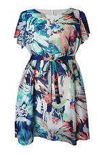 New Ladies Blue Red Floral Print Tunic Dress Plus Sizes 16 - 30