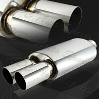 """4/"""" Slant Carbon Tip 3/"""" Inlet Black T-304 Stainless Exhaust Muffler Universal 2"""