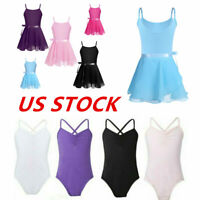 US Girls Ballet Leotard Dance Dress Kids Gymnastics Tutu Skirt Dancewear Costume