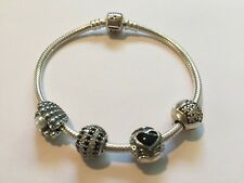 """Authentic Pandora Bracelet with Charms Sterling Silver 7.5"""""""