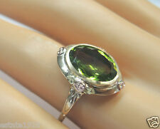 Retro Estate Vintage Peridot Engagement 14K Rose Green Gold Ring Size 7.75 UK-P