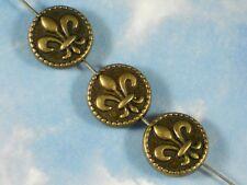 8 Fleur de Lis Coin Beads Bronze Tone 2 Sided Edge Top to Bottom Hole #P1483