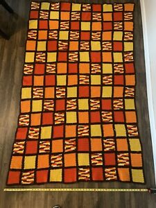 Vintage 70s Throw Afghan Blanket Crochet 50x79  Brown Orange Yellow Hippie Boho
