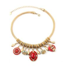 Women Jewelry Bohemian Trendy Rhinestone Resin Bead Tassel Collar Bib Necklace