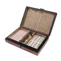 Portable Antique Miniature Mahjong Chinese Traditional Board Game w/ Box