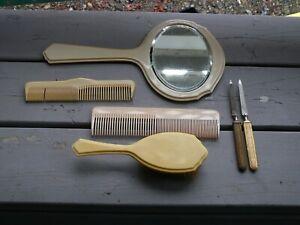 Vintage 6 Pc. Vanity Set Ivory Pyralin DuBarry Mirror, Combs, Brush Nail Files
