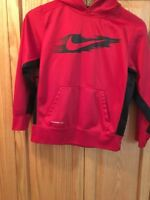 Nike Boys Size Meduim Hoodie Red with Black Accents Pull Over Sweat Shirt