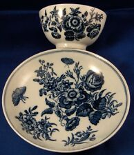 Antique 18thC Worcester Porcelain Blue & White Cup & Saucer Porzellan Tasse #2