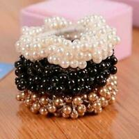 Hair Accessory Women Pearl Bead Hairband Bun Ponytail Elastic Band Scrunchie