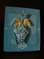 Lenox Crystal Christmas Holiday Fruit Ornament Cluster of Grapes Gold Leaves New
