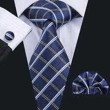 Classic Blue Green Plaids Checks Necktie Brown Mens Wedding Neck Tie Jacquard