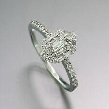 Ring with Diamonds + Diamonds 0,50 CT 750 White Gold Engagement New
