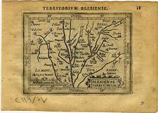 1609 Genuine Antique miniature map France. Loire River. Orleans. by A. Ortelius