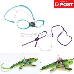 Reptile Harness Adjustable Strap Leash Gecko Lizard Bearded Dragon Blue/Purple