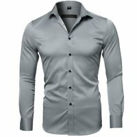 Mens Luxury Casual Slim Fit Long Sleeve Formal Dress Shirts Bamboo Fiber Tops