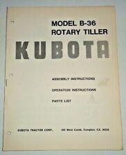 Kubota B 36 Rotary Tiller Parts Amp Operators Owners Maintenance Manual Original