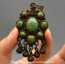 Collect Chinese Tibet Buddhism Miao Silver Flower Woman Amulet necklace Pendant