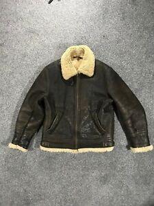 "Miller Sheepskins Leather Sherpa Jacket Medium M Brown Mens 45"" Chest Leather"
