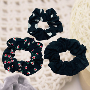 Cotton Scrunchies Ladies Girls Hair Bobbles Pack of 3 (Floral, PolkaDot & Plain)