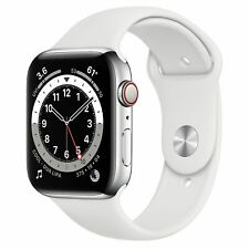 Apple Watch Series 6 44mm Silver Stainless Steel White Sport Band R