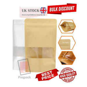 Kraft Paper with Window Stand Up Pouches Plated Mylar Zip Lock Heat Resealable