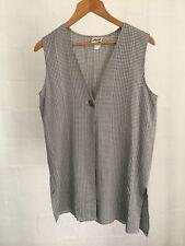 Vintage Black & White Check Single Button Lightweight Vest Size 12 Risq