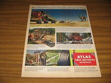 1950 Print Ad Atlas Tires Truck with Load of Steel Pipes in Saudi Arabia Camel
