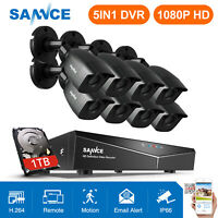 SANNCE 8CH 1080P HDMI DVR 3000TVL IR CCTV Video Home Security Camera System 1TB