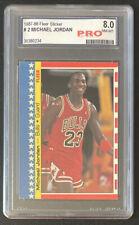 1987-88 FLEER STICKER #2 Michael Jordan Graded PRO 8 NM-MT HOF 2nd Year