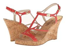 MICHAEL KORS CICELY PATENT LEATHER WEDGE 10M WATERMELON NIB
