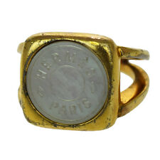 Authentic HERMES Sellier Ring Gold-Tone # 6.5 Accessories Vintage 07D502