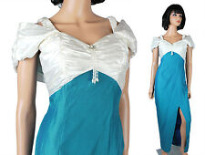 80s Prom Dress XS Vintage Teal Blue White Satin Long Wiggle Gown Pearl Beads