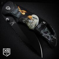 Black BALD EAGLE Spring Assisted Pocket Knife Wilderness Epic 3D ART Graphics