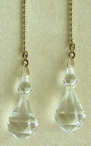 DIAMOND W/BALL ACRYLIC CEILING FAN PULLS CHAIN PULLS LIGHT PULLS SILVER CHAIN