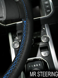 FOR CHEVROLET MASTER BLACK LEATHER STEERING WHEEL COVER LIGHT BLUE DOUBLE STITCH