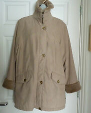 Marks & Spencer Beige size 10 coat lined, faux fur collar and cuffs knee length