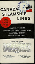 Canada Steamship Lines Time Table 1940 Rare Canadian Vintage Original Booklet