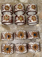 """#16 Vintage Ceramic Floral Napkin Rings Signed CAT Mexico Hand Painted 2"""""""