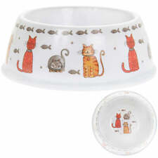 Faithful Friends Cat Bowl, dish, cat and fish illustrations, melamine