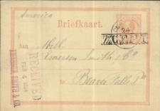 Netherlands Antilles postal card HG:5 CURACAO 24/1/1884 to USA, minor wear
