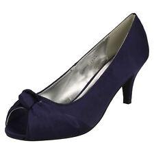 Ladies Anne Michelle Wedding PEEP Toe Court Shoes L2978 Navy Textile UK 4