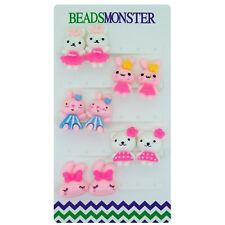 Clip on Earrings for Little Teen Girls Kids Daughter 5 Cute Rabbit Gift Pack