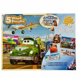 Disney Cars Wood Puzzles in Storage Box (Set of 5 Puzzles)