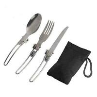 3Pcs Stainless Steel Camping Flatware Set Spoon Fork Utensil Survival Tools S