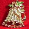 Vintage Gerry's Bell Pin Holiday Xmas Ribbon Enamel Filigree Goldtone Brooch