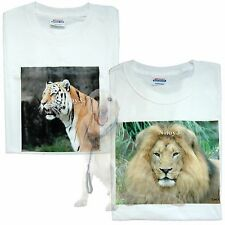Original One of A kind Printed Photo T-shirts Lion & Tiger