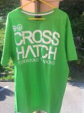 Brand New Mens Crosshatch Green Cotton Short Sleeve T-Shirt Large