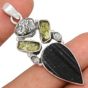 Black Tourmaline & Moldavite 925 Silver Pendant BP84326