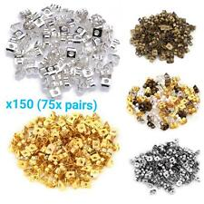150x (75 pairs) EARRING BACKS STOPPERS SILVER PLATED METAL butterfly gold bronze